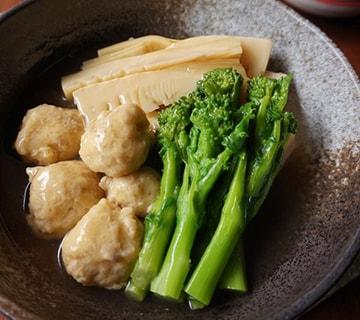 鶏団子と春野菜のあっさり煮物