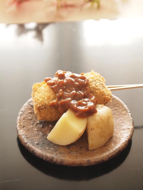 生麩フライの鶏味噌田楽