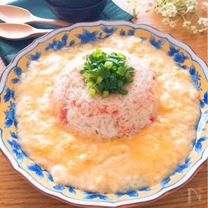 「京風割烹白だし」で決まる♪トロトロ卵あんかけかにかま炒飯
