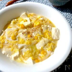 「京風割烹 白だし」でコーンともやしのとろとろかき玉豆腐