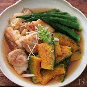 かつおだしのうま味広がる「鶏とかぼちゃの焼き浸し。」