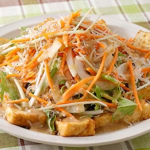 おいしい北海道産の野菜「きたやさい」と厚揚げのおかずサラダ