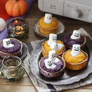 トースターで作る!かわいいおばけのカップケーキ♪