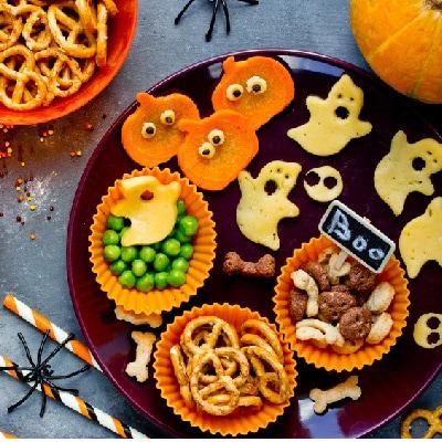 スイーツ&ごちそう、 飾り付け! ハロウィンパーティの かわいい料理
