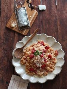 焼きトマトのパルミジャーノ混ぜご飯。