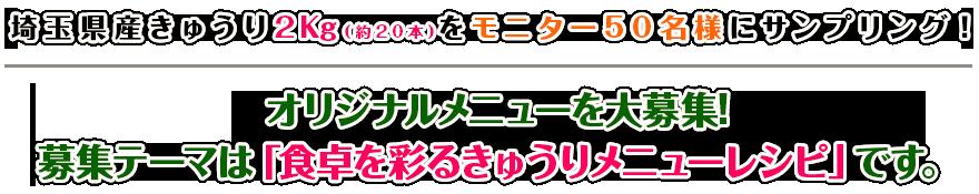 埼玉県産きゅうり2Kg(約25本)をモニター50名様にサンプリング!オリジナルメニューを大募集!募集テーマは「食卓を彩るきゅうりメニューレシピ」です。