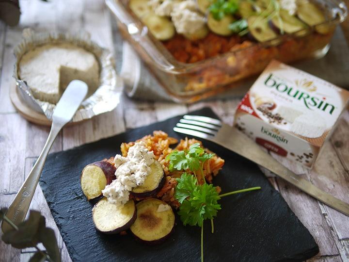 さつまいもとトマトリゾーニのオーブン焼