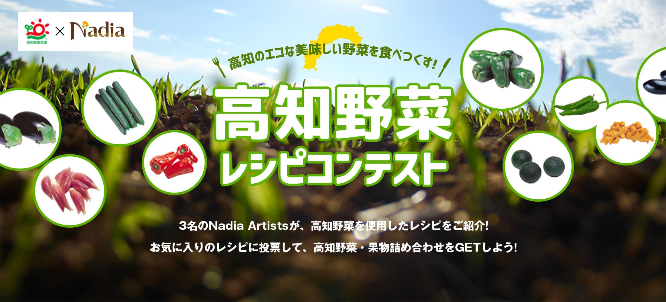 高知のエコな美味しい野菜を食べつくす!高知野菜レシピコンテスト 3名のNadia Artistsが、高知野菜を使用したレシピをご紹介!!お気に入りのレシピに投票して、高知野菜・果物詰め合わせをGETしよう!