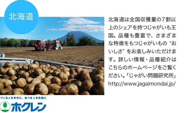 """北海道は全国収穫量の7割以上のシェアを持つじゃがいも王国。品種も豊富で、さまざまな特徴をもつじゃがいもの""""おいしさ""""をお楽しみいただけます。詳しい情報・品種紹介はこちらのホームページをご覧ください。「じゃがい問題研究所」 http://www.jagaimondai.jp/ ホクレン 北海道産青果物拡販宣伝協議会"""