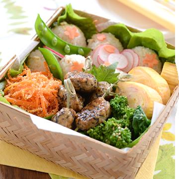 春野菜たっぷり!華やかおにぎり弁当
