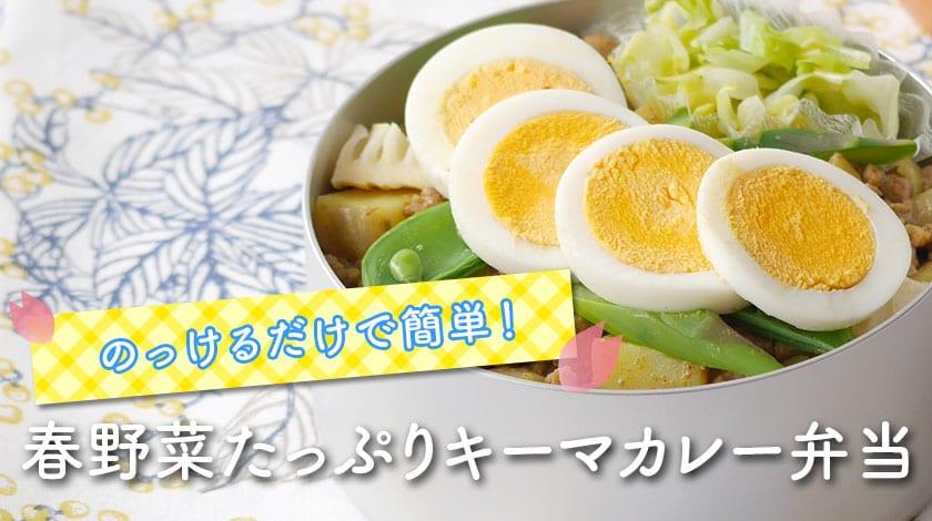 のっけるだけで簡単!春野菜たっぷりキーマカレー弁当