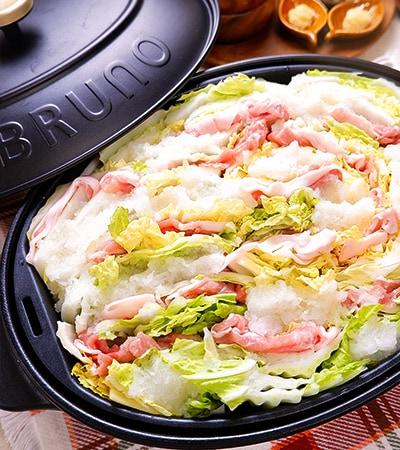 鍋より手軽!白菜と豚しゃぶのみぞれ蒸し鍋プレート
