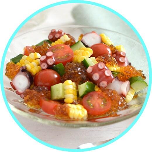 キラキラのジュレがかわいいたこと野菜のさっぱりサラダ