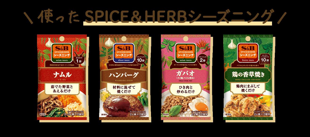 \使ったSPICE&HERBシーズニング/ ナムル ハンバーグ ガパオ 鶏の香草焼き
