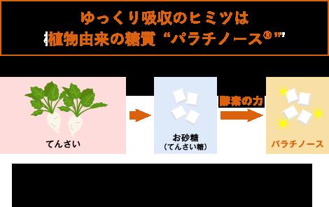 ゆっくり吸収のヒミツは植物由来の糖質 パラチノース(R)