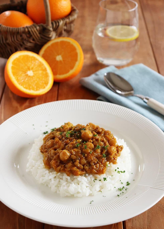 オレンジとひよこ豆のキーマカレー