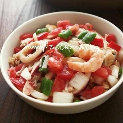 スペイン風、野菜たっぷりシーフードマリネ♪サルピコン