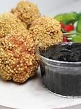 ホタテ風味の肉団子の海苔ソース