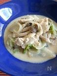 白菜と鶏むね肉の豆乳クリーム煮