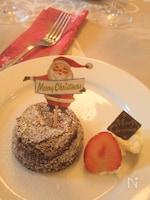 和栗の入ったチョコレートスフレケーキ