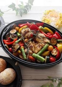 『簡単!夏野菜とチキンのローズマリー香るオリーブオイルグリル』