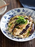 レンジで簡単!鶏むね肉となすのピリ辛香味ポン酢かけ