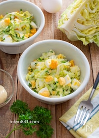 『春キャベツとゆで卵のマヨサラダ。簡単!春の副菜♪』