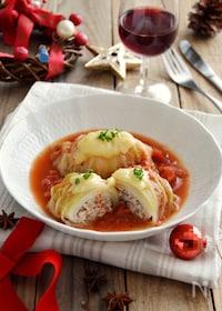 『チーズがとろ〜り!ロール白菜のトマト煮込み。クリスマスにも♪』