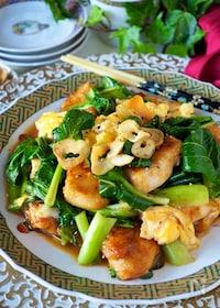 『【むね肉1枚大満足】シャキシャキ小松菜と鶏肉のふわふわ卵炒め』