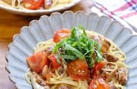 『鯖の味噌煮缶とトマトの絶品和パスタ』