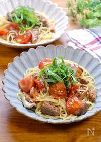 『『鯖の味噌煮缶とトマトの絶品和パスタ』』