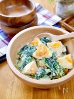 マヨでコク旨仕立て♪『ほうれん草とゆで卵の胡麻マヨサラダ』
