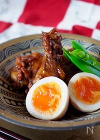『【調味料2つだけ】簡単鶏手羽元と卵のさっぱり煮』