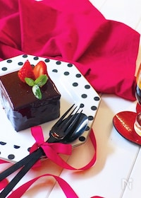 『マシュマロでチョコムースケーキ〜牛乳パックの型でプチガトー風』