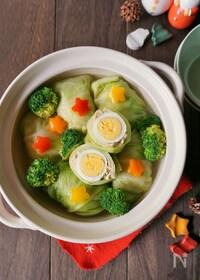『ゆで卵がサプライズ!鰹白だし香るロールキャベツ鍋』
