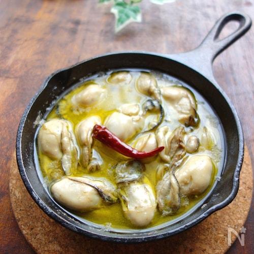 【スキレット】牡蠣のアヒージョ
