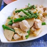 鶏もも肉と新たけのことアスパラの和風クリーム煮