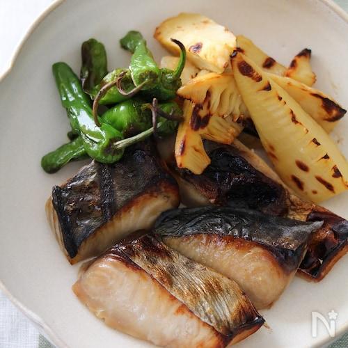 サワラと筍の西京漬け焼き。