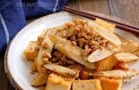 鶏ひき肉と絹揚げとごぼうの旨味噌炒め