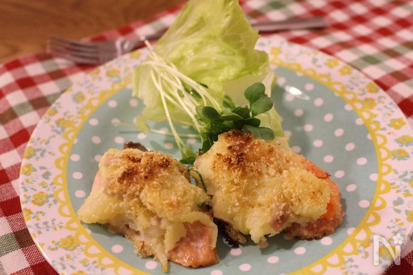 3. 鮭のポテトサラチーズ焼き