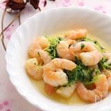 海老と豆苗の野菜だし炒め(チーズ風味)