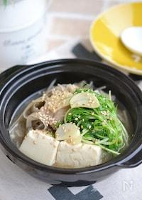 『豚バラごぼうと豆腐のスープ鍋』