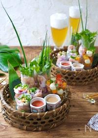 『めんたいタレで食べる生春巻き』