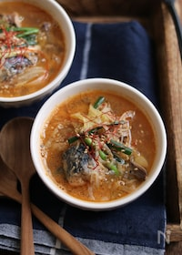 『鯖缶キムチのピリ辛ごま味噌スープ。』