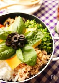 『野菜たっぷり!フライパンで作るイタリアンチーズビビンパ』