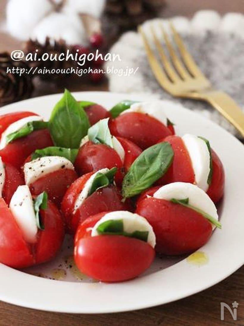 ミニトマトでかわいい一口カプレーゼ