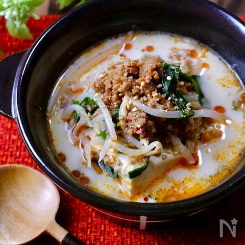 超簡単!ピリッとやみつき♡『ピリ辛豆乳担々スープ』