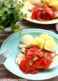 『たらの野菜トマトソースあん』