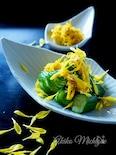 蛇腹きゅうりと菊の酢の物#作り置き#菊の甘酢漬け