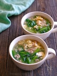 小松菜とひき肉のかきたまスープ